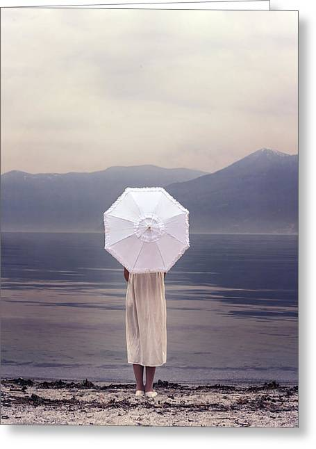 Girl With Parasol Greeting Card by Joana Kruse