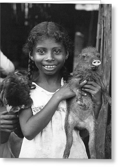 Girl With Pet Peccary Greeting Card by Underwood Archives