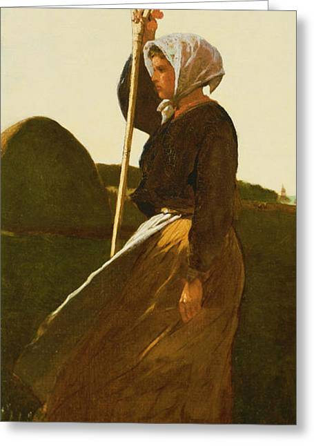 Winslow Homer Digital Art Greeting Cards - Girl With Pitchfork Greeting Card by Winslow Homer