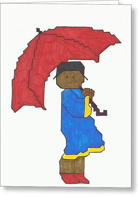 African-american Drawings Greeting Cards - Girl with Red Umbrella Greeting Card by Merle Barge