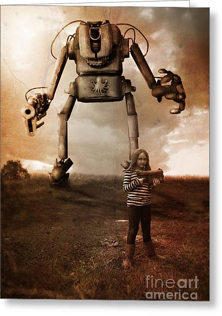 Giant Robot Greeting Cards - Girl With Robot Greeting Card by Christopher Moonlight