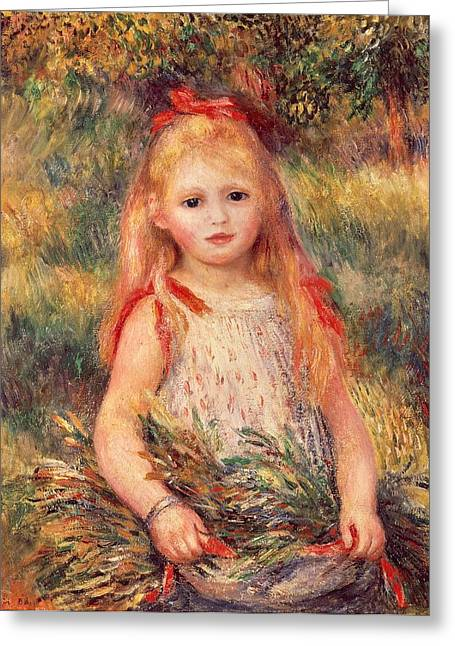 France 1874-1886 Greeting Cards - Girl with sheaf of corn Greeting Card by Pierre-Auguste Renoir