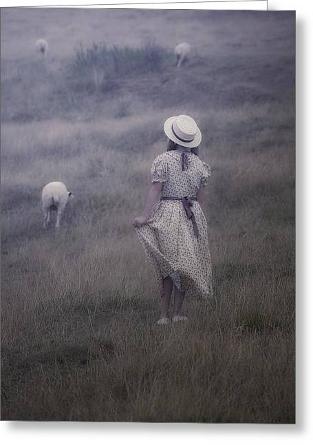 Sun Hat Greeting Cards - Girl With Sheeps Greeting Card by Joana Kruse