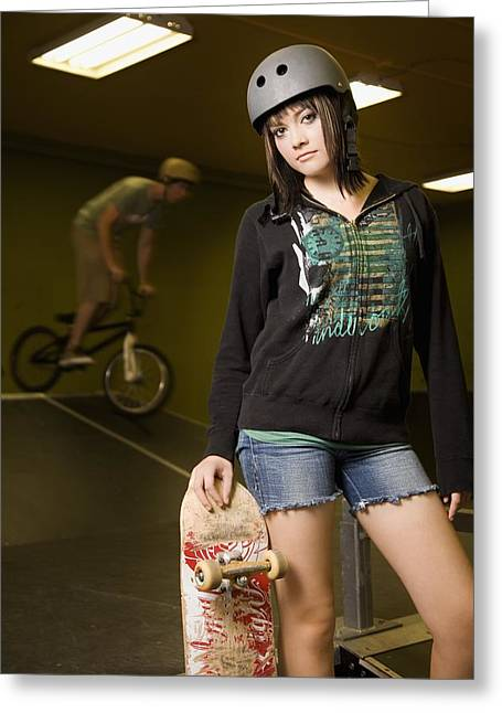 Self Confidence Greeting Cards - Girl With Skateboard Greeting Card by Kelly Redinger