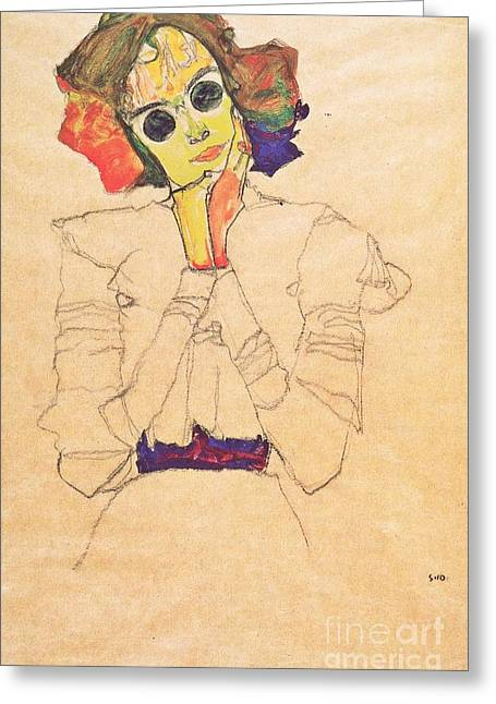 Schiele Drawings Greeting Cards - Girl with Sun glasses Greeting Card by Pg Reproductions