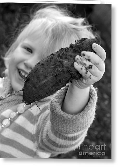3 Year Old Girl Greeting Cards - Girl with Sweetpotato Greeting Card by Iris Richardson