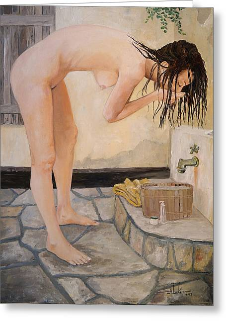 Hair-washing Paintings Greeting Cards - Girl with the Golden Towel Greeting Card by Alan Lakin