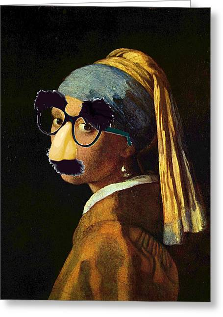 Satire Prints Greeting Cards - Girl With The Pearl Earring and Groucho Glasses Greeting Card by Tony Rubino