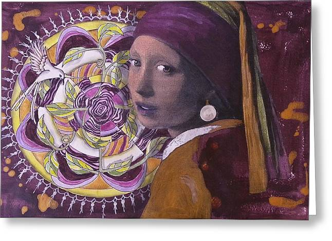 Gold Earrings Paintings Greeting Cards - Girl with the Pearl Earring and Mandala Greeting Card by Pat Devereaux