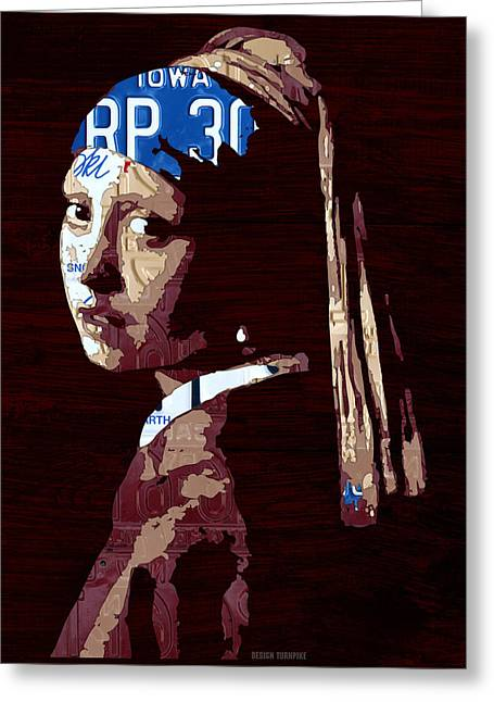 Girls Mixed Media Greeting Cards - Girl with the Pearl Earring by Johannes Vermeer License Plate Art Greeting Card by Design Turnpike