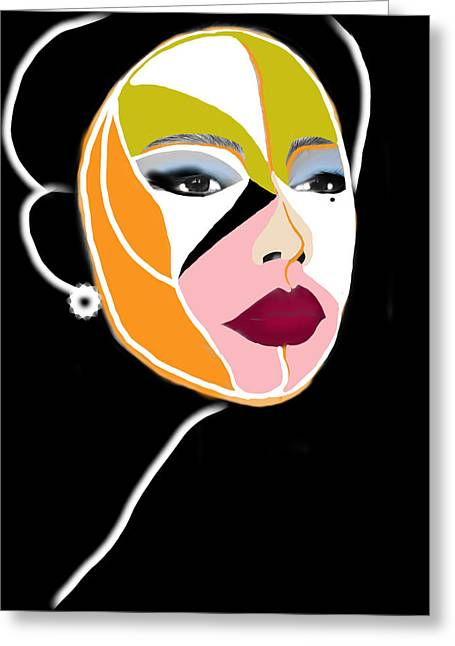 Cubist Drawings Greeting Cards - Girl with the pearl earring  Greeting Card by Maria  Lankina