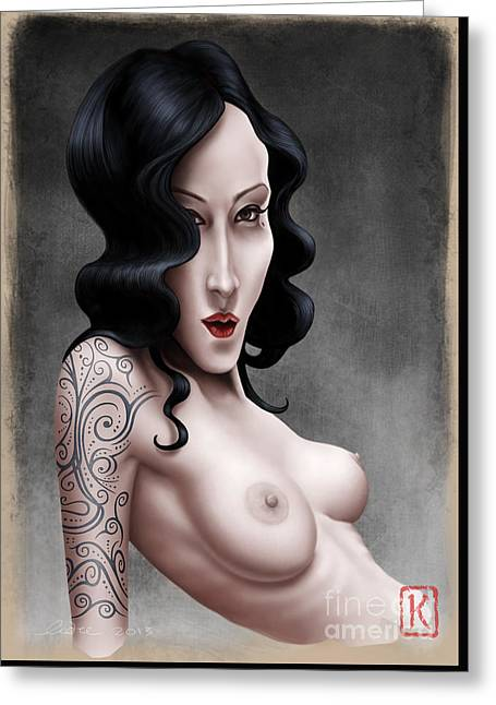 Tattoo Digital Greeting Cards - Girl with the Tribal Tattoo Greeting Card by Andre Koekemoer