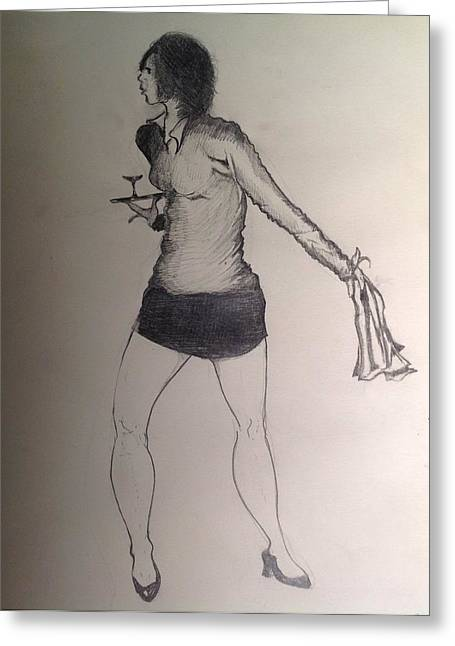Waitress Drawings Greeting Cards - Girl With Towel Greeting Card by Robert Hilger