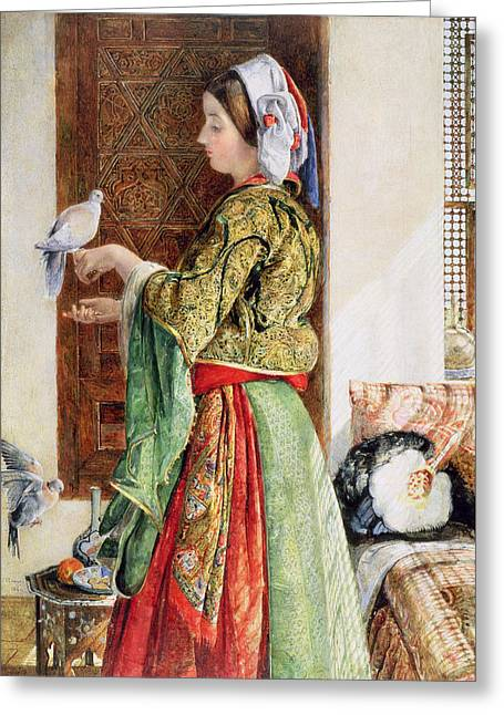 Girl With Two Caged Doves, Cairo, 1864 Greeting Card by John Frederick Lewis