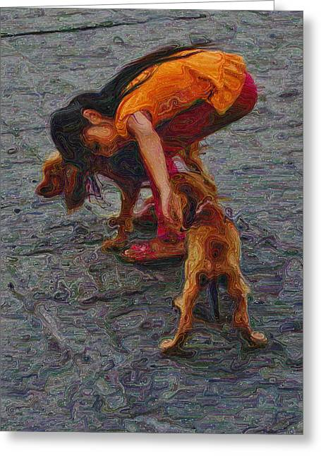 Orange Shirt Greeting Cards - Girl with Two Dogs Greeting Card by Mary Machare