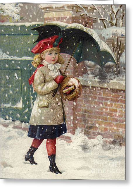 Girl With Umbrella In A Snow Shower Greeting Card by American School