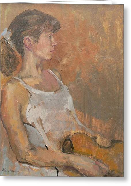 Pensive Greeting Cards - Girl With Violin, 2007 Oil On Canvas Greeting Card by Pat Maclaurin