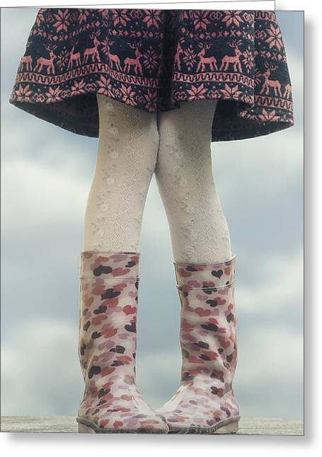 Rubber Boot Greeting Cards - Girl With Wellies Greeting Card by Joana Kruse