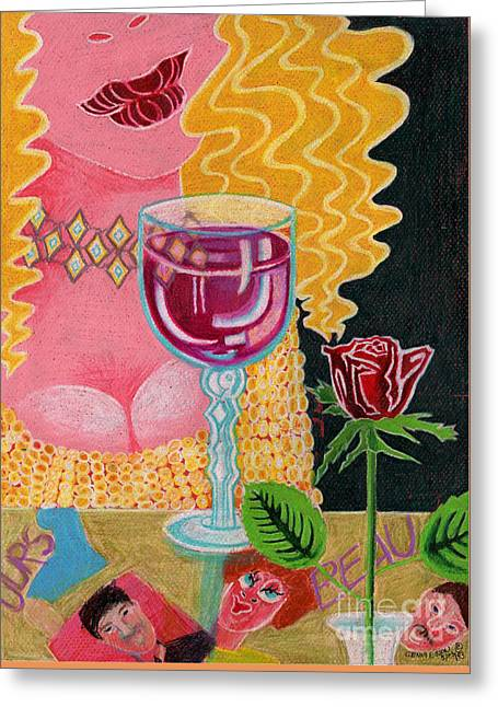 Glass Vase Drawings Greeting Cards - Girl With Wine Glass Greeting Card by Genevieve Esson