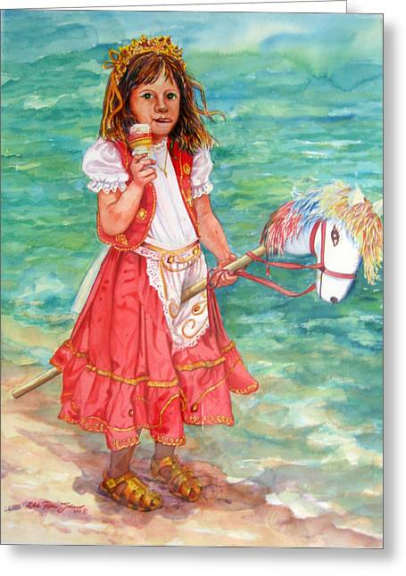 Reproducciones Tropicales Greeting Cards - Girl With Wood Horse Greeting Card by Estela Robles
