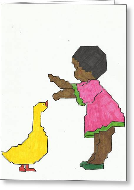 African-american Drawings Greeting Cards - Girl with Yellow Duck Greeting Card by Merle Barge