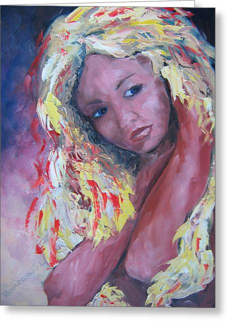 Girl With Yellow Hair Greeting Card by Susan Richardson