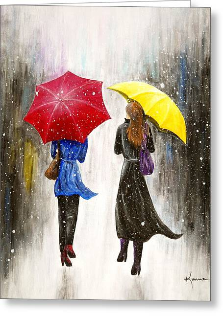 Long Street Greeting Cards - Girlfriends Greeting Card by Kume Bryant