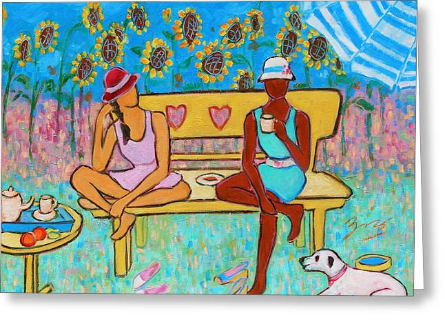 Puppies Paintings Greeting Cards - Girlfriends Teatime III Greeting Card by Xueling Zou