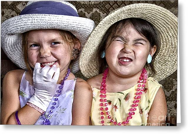 Glove Greeting Cards - Girls and Grins Greeting Card by Lee Craig