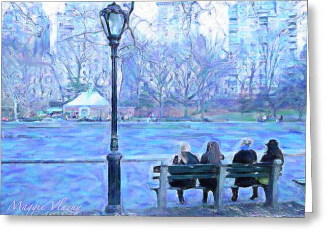 Pond In Park Greeting Cards - Girls at Pond in Central Park Greeting Card by Maggie Vlazny