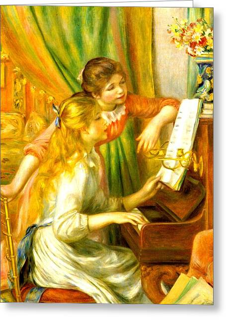 Two Young Girls Greeting Cards - Girls At The Piano Greeting Card by Pierre-Auguste Renoir