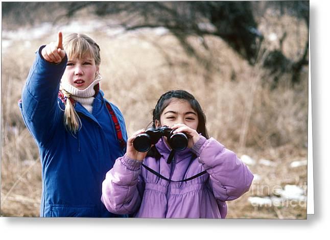 Birdwatcher Greeting Cards - Girls Birding In Idaho Greeting Card by William H. Mullins