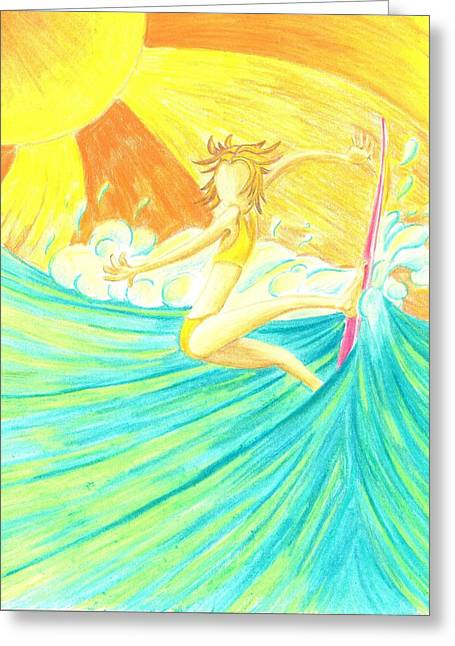 Surfer Drawings Greeting Cards - Girls Can Surf Greeting Card by Jason Honeycutt
