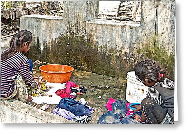 Doing Laundry Greeting Cards - Girls Doing Laundry in the Mothers Village-Nepal  Greeting Card by Ruth Hager