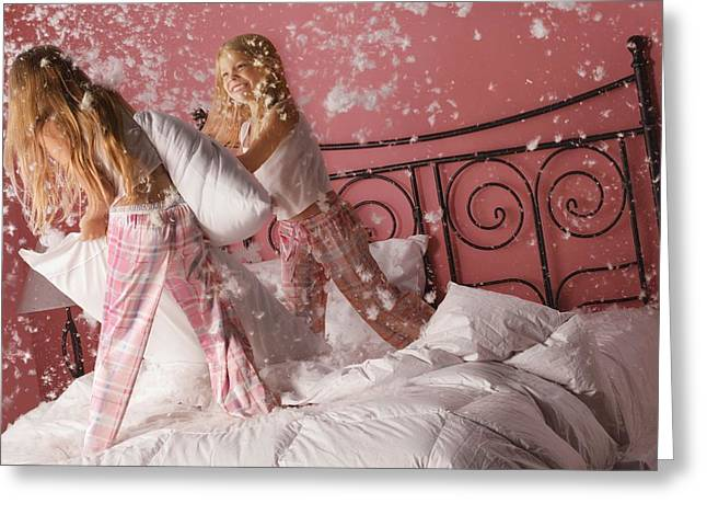 Out Of Control Greeting Cards - Girls Having A Pillow Fight Greeting Card by Don Hammond