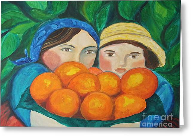 Teresa Hutto Greeting Cards - Girls in the Orange Grove Greeting Card by Teresa Hutto