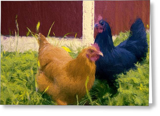 Sour Mixed Media Greeting Cards - Girls in the Yard Greeting Card by John K Woodruff