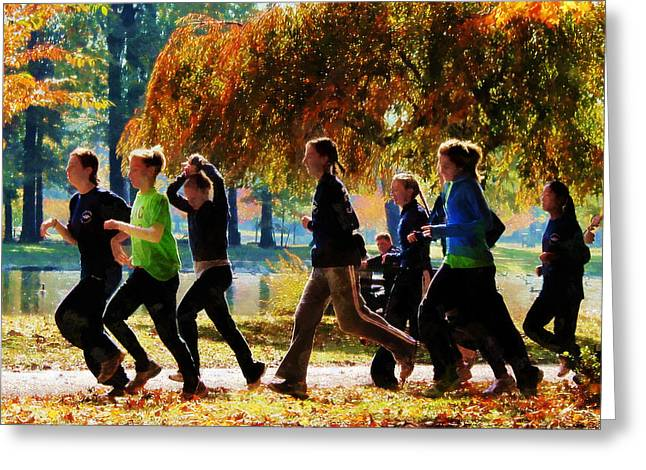 Jogging Greeting Cards - Girls Jogging On an Autumn Day Greeting Card by Susan Savad