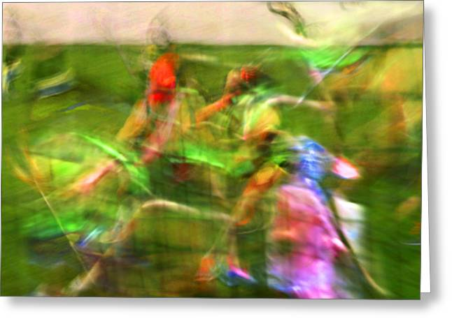 Girls Lacrosse Abstract Greeting Card by Susan Leggett