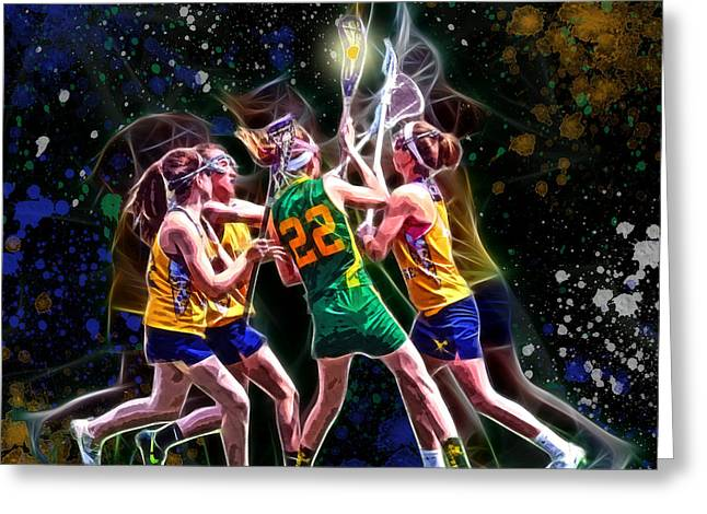 Offense Digital Art Greeting Cards - Girls LAX - Battling Through the Triple Team Greeting Card by Stephen Younts
