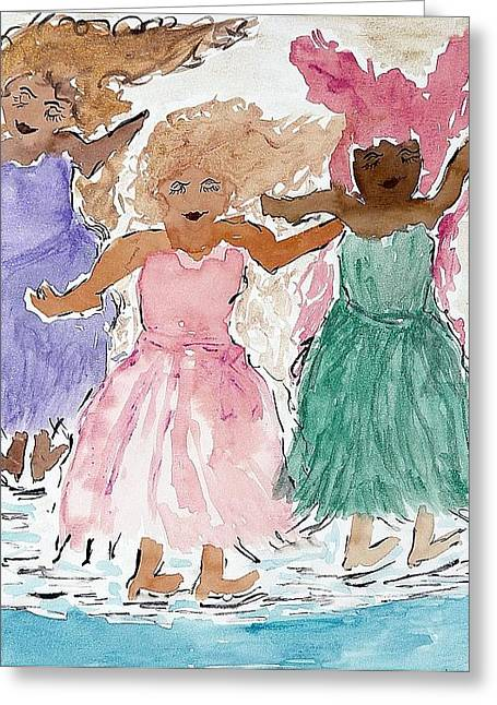 Dancing Girl Greeting Cards - Girls Love to Dance Greeting Card by Lesley Fletcher