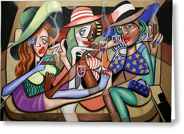 Cubist Digital Art Greeting Cards - Girls Night Out Greeting Card by Anthony Falbo