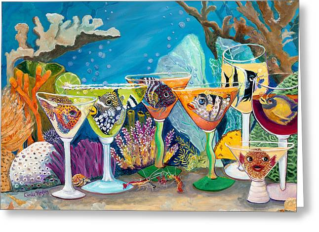 Girls Night Out At The Reef Bar Greeting Card by Linda Kegley