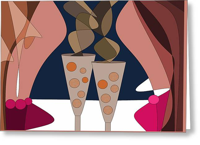 Girls Night Out Greeting Card by Val Arie
