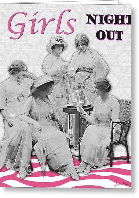 Girls Night Out Greeting Cards - Girls Night  Out-Victorians Girls Greeting Card by Jean Plout