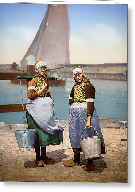 Sailboat Photos Greeting Cards - Girls of the Netherlands 1900 Greeting Card by Mountain Dreams