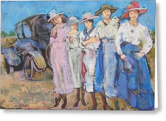 Picnic Pastels Greeting Cards - Girls of the Twenties Greeting Card by Barbara Torke