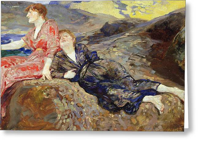 Lounge Paintings Greeting Cards - Girls on the Shore Greeting Card by Max Klinger