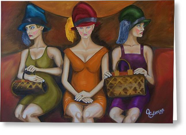 Abstract Purse Greeting Cards - Girls on Train Greeting Card by John Stevens