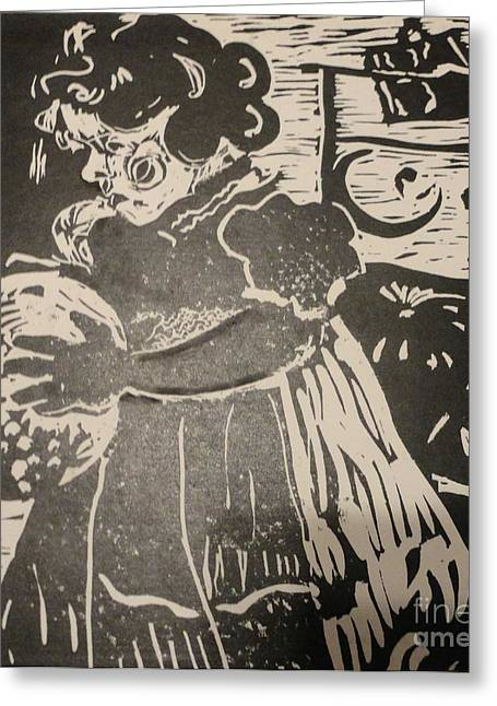 Lino Cut Paintings Greeting Cards - Girls play Greeting Card by PainterArtist FINs husband Maestro